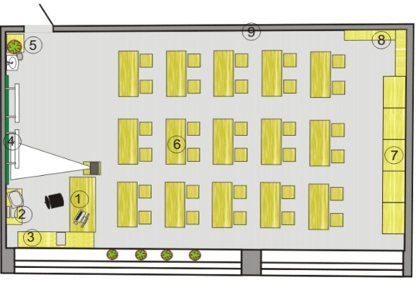 План кабинета изо мхк и черчения 209
